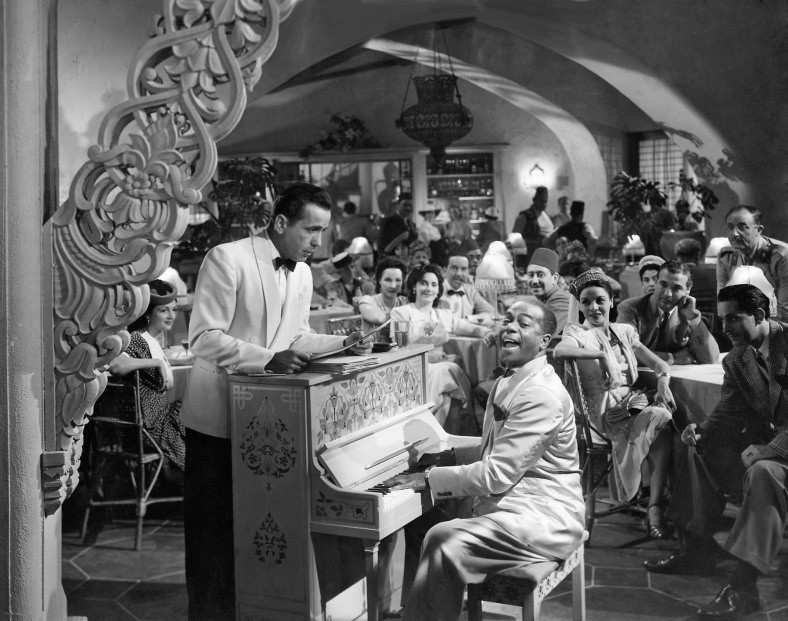 "A scene still from ""Casablanca,"" the Oscar®-winning Best Picture of 1943, features Humphrey Bogart as Café Americain owner Rick Blaine with Dooley Wilson who portrayed piano player Sam. Restored by Nick & jane for Dr. Macro's High Quality Movie Scans Website: http:www.doctormacro.com. Enjoy!"